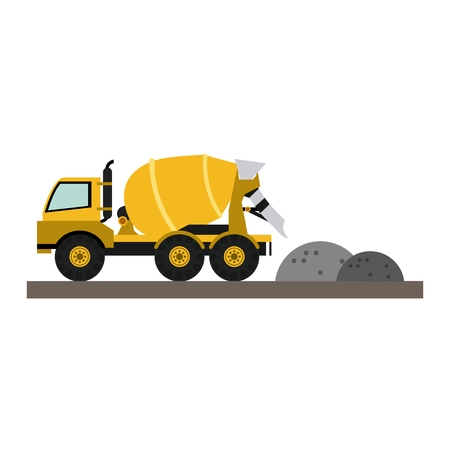 Construction cemet truck unloading gravel vector illustration graphic design Vektoros illusztráció