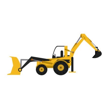 Construction backhoe vehicle isolated vector illustration graphic design