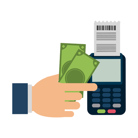 Hand using money and credit card reader vector illustration graphic design