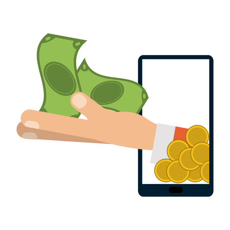 Online payment and money transfer from smartphone vector illustration graphic design