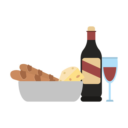 Wine bottle and cup with bread and cheese vector illustration graphic design