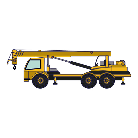 Construction truck with crane vehicle vector illustration graphic design