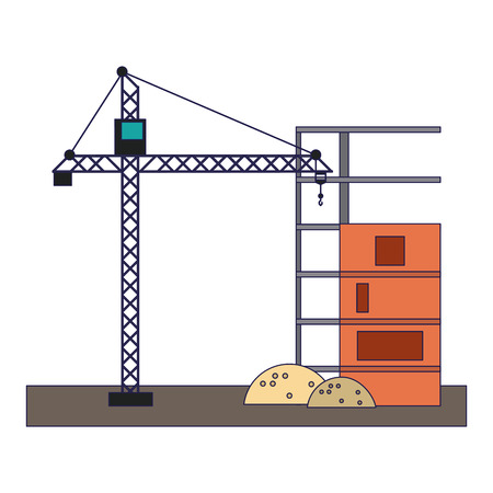 Construction crane tower isolated vector illustration graphic design