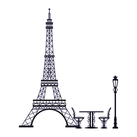 Vintage table and chair on eiffel tower vector illustration graphic design