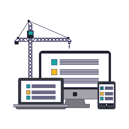 Website under construction computer smartphone and laptop with tower vector illustration graphic design
