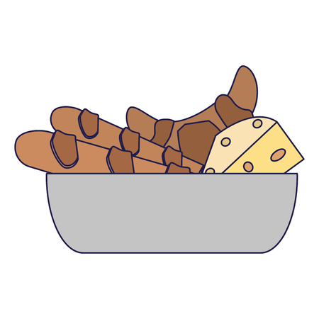 Breads and cheese in bowl vector illustration graphic design Illustration