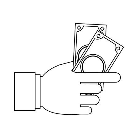 Hand with money isolated vector illustration graphic design Ilustração
