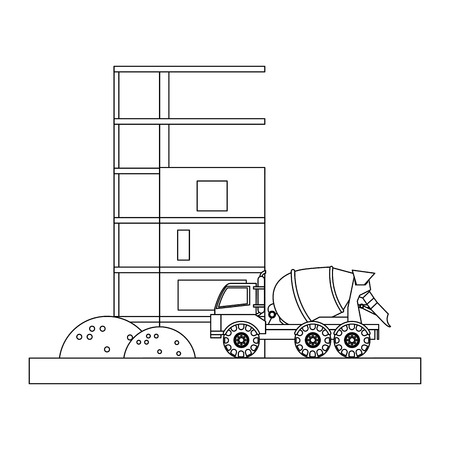 Cemet truck vehicle and contruction buildings vector illustration graphic design
