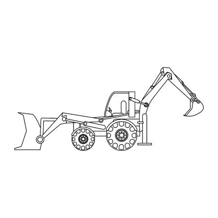 Conception graphique d'illustration vectorielle isolée de véhicule de pelle rétrocaveuse de construction Vecteurs