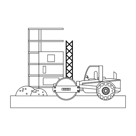 Construction compact in construction zone vector illustration graphic design Illusztráció