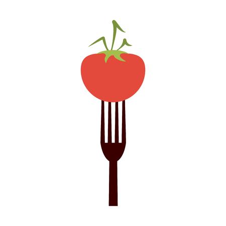 Tomato on fork vector illustration graphic design