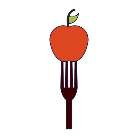 Apple on fork vector illustration graphic design