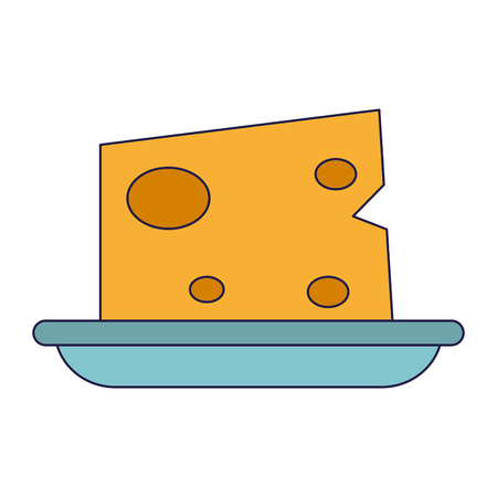 Cheese on dish food vector illustration graphic design Illusztráció