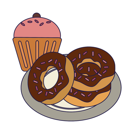 Cupcake and donuts Desserts food vector illustration graphic design