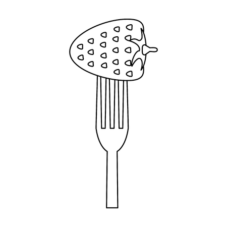 Strawberry in fork vector illustration graphic design