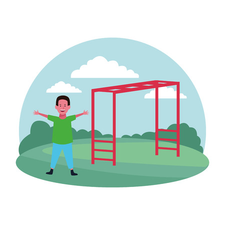 children at the playground with monkey bars rouns icon parkscape vector illustration graphic design
