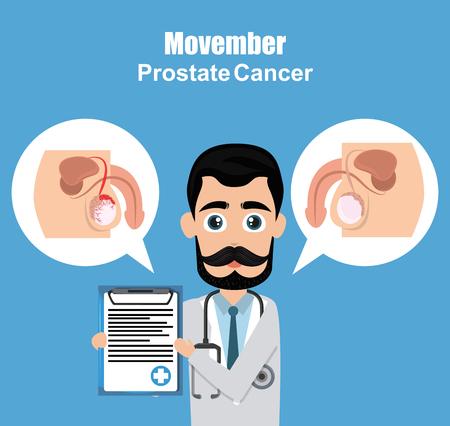 Movember prostate cancer poster doctor showing signs vector illustration graphic design Illustration