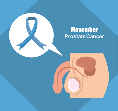 Movember prostate cancer poster penis and testicules with ribbon vector illustration graphic design