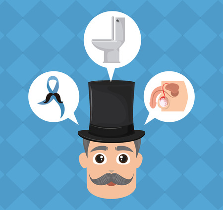 Prostate cancer campaign gentleman face with symbol bubbles vector illustration graphic design Illustration