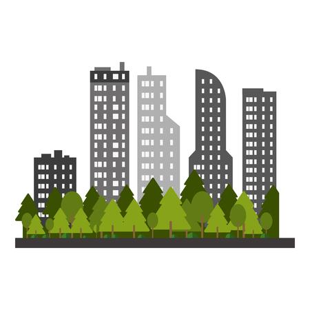 Cityscape buildings scenery vector illustration graphic design