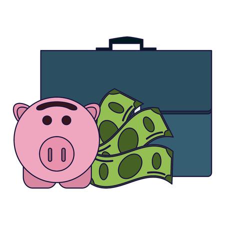 Money briefcase and piggy vector illustration graphic design Ilustração