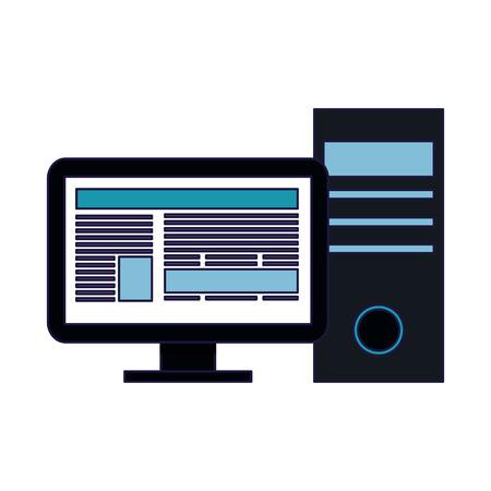 Desk computer navigating internet vector illustration graphic design