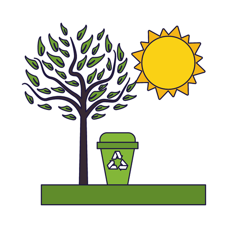 Recycle trash can on nature vector illustration graphic design