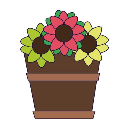 Flowers in pot cartoon vector illustration graphic design
