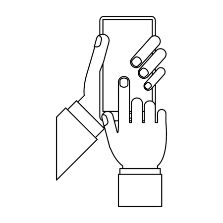 Hand using smartphone isolated vector illustration graphic design