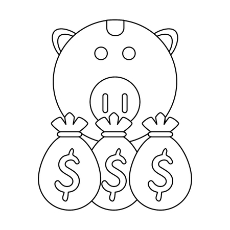 Piggy with money and bags vector illustration graphic design Ilustração