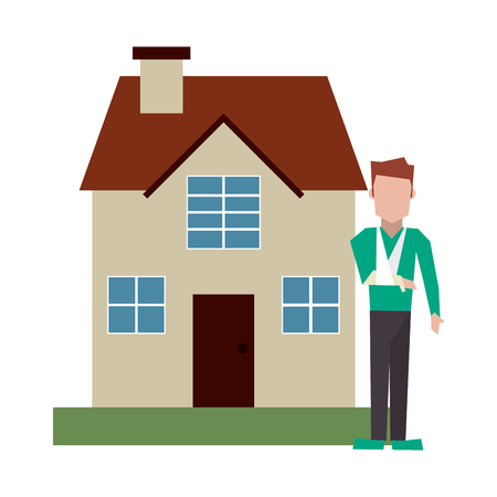 Man with broken arm and house vector illustration graphic design