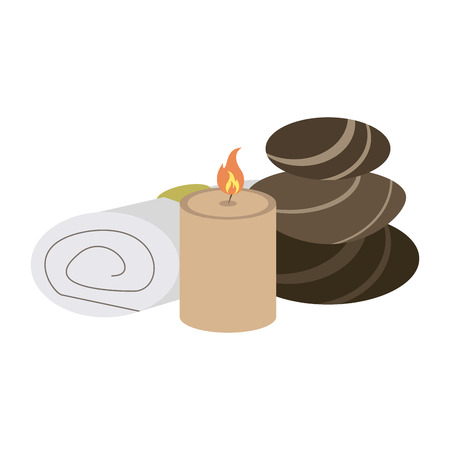 spa candle and rocks with towel vector illustration graphic design