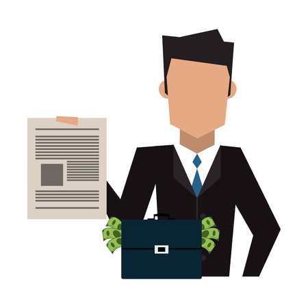 Insurance Businessman with contract and briefcase with money vector illustration graphic design 向量圖像