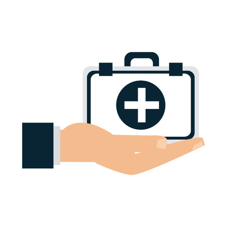 Medical insurance hand with first aids suitcase vector illustration graphic design Çizim