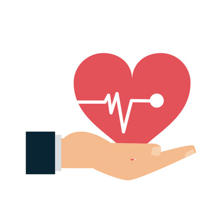 Medical insurance hand with heart symbol vector illustration graphic design
