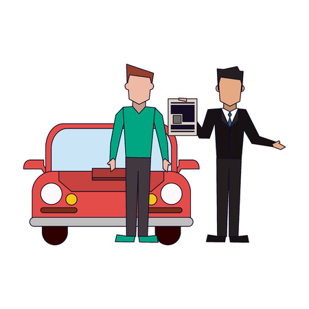 Insurance businessman and customer with car vector illustration graphic design
