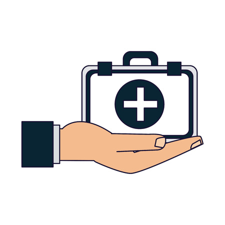 Medical insurance hand with first aids suitcase vector illustration graphic design Illustration
