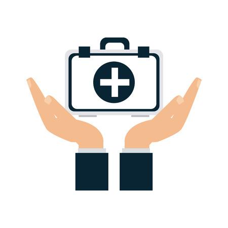 Medical insurance hand with first aids suitcase vector illustration graphic design Ilustração