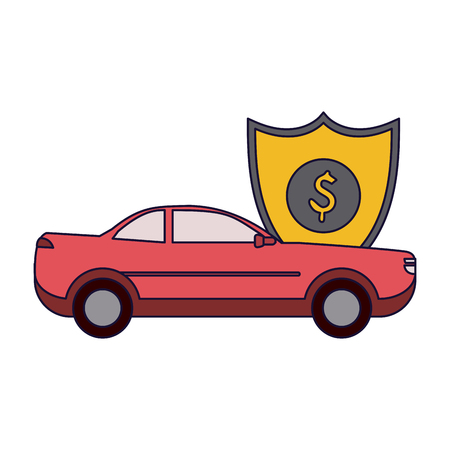 Insurance and protection car vehicle with badge vector illustration graphic design