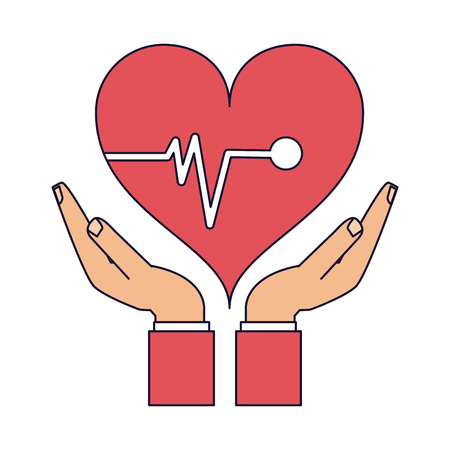 Medical Insurance hand holding heart symbol vector illustration graphic design