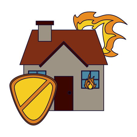 Insurance and protection real estate with shield vector illustration graphic design