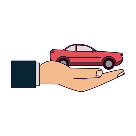 Insurance hands holding car vehicle vector illustration graphic design