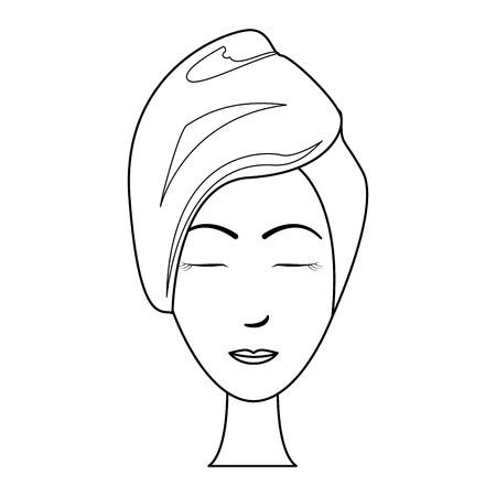 Spa-Frauengesicht mit Maske und Handtuch-Vektor-Illustration-Grafik-Design