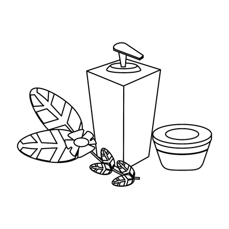 spa cream bottle and oil with flower vector illustration graphic design