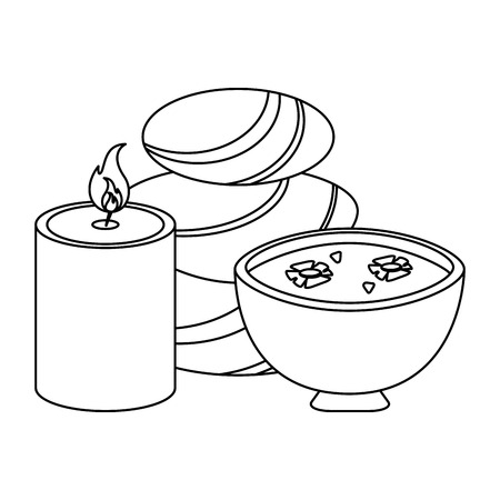 spa rocks and oil with candle aromatherapy vector illustration graphic design