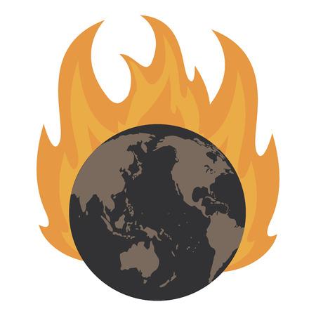 Earth world burning vector illustration graphic design