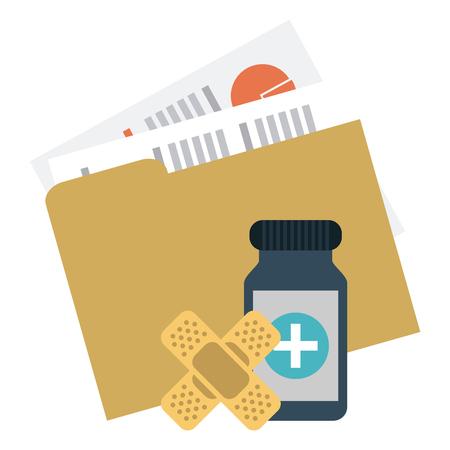 Medical folder and medicine bottle with band aids vector illustration graphic design Stock Illustratie