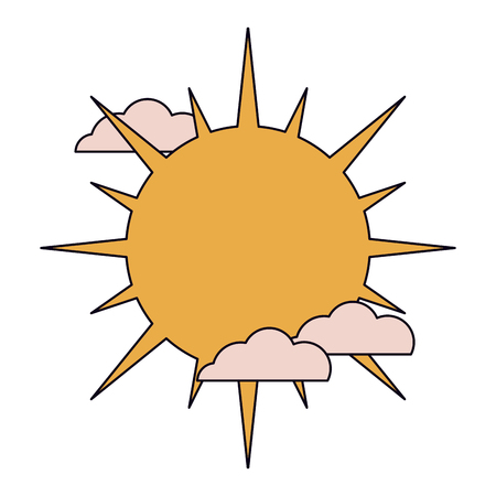 Sun and clouds isolated vector illustration graphic design