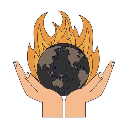 Hands with Earth world burning vector illustration graphic design