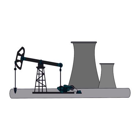Fuel pump refinery scenery vector illustration graphic design Stock Illustratie